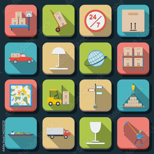 Logistics flat vector icons