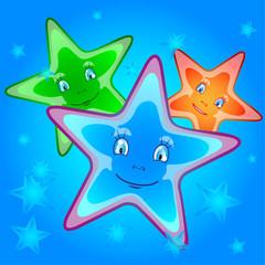 три мультяшные  звезды
