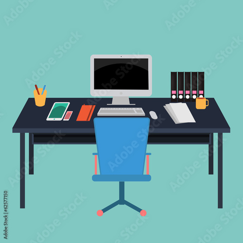 Vector of Office Workspace.computer