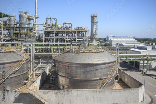 Refinery process area of petrochemical plant