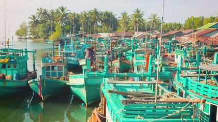Wooden fishing boats parked. Sihanoukville, Cambodia