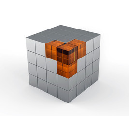 cube consisting of metal and glass blocks