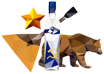 Russian symbolism ( bear; star, balalaika, vodka)