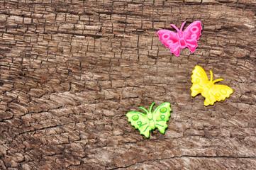 Schmetterlinge-Holzhintergrund-Freiraum