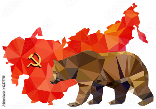 Soviet Union, USSR, map with flag, Bear