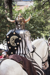 A fighter on horseback in the festival of Moors and Christians,
