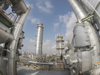 Refinery plant in wide lens