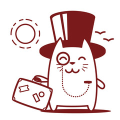 Character rich gentleman in a hat-cylinder and a monocle line ar