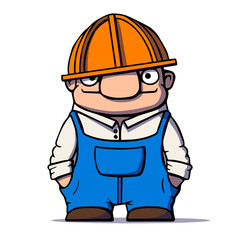Funny cartoon worker, builder, plumber. Vector illustration