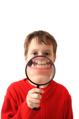 boy and magnify glass