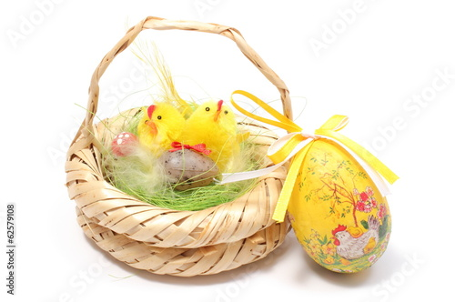 Easter chickens and egg on white background
