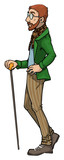 Fancy dressed man with a cane, vector illustration