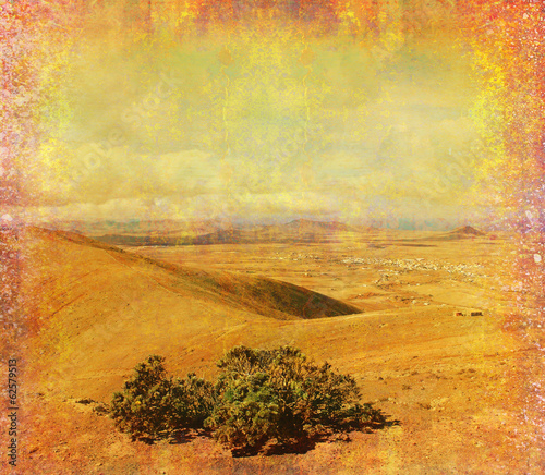 Deurstickers Fantasie Landschap grunge paper with the landscape - Mountain in Fuerteventura