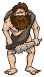 Grubby cave man with a club, vector illustration