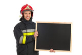 Fireman with black board.
