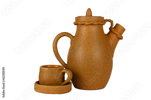 Clay carafe and coffee cup (isolated object)