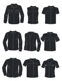Silhouettes of men's shirts
