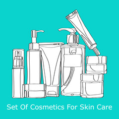 set of cosmetics for skin care
