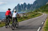 Fototapety two cyclists relax biking