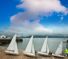 Group of sailing boats in the port