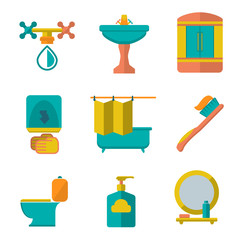 Set flat icons of bathroom and toilet