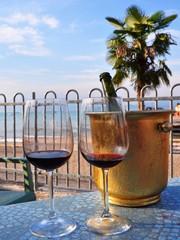 drinking wine on the beach