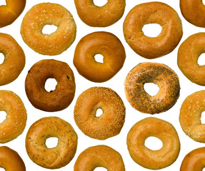 Different types of bagels, seamlessly tileable