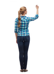 woman from the back writing something in the air