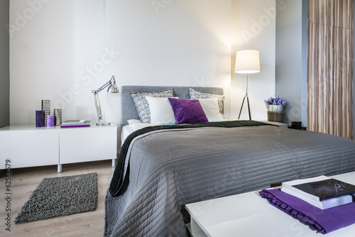 Bedroom interior with gray bed - 62582579