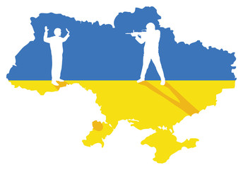 Map and flag of Ukraine with illustration of civil conflict