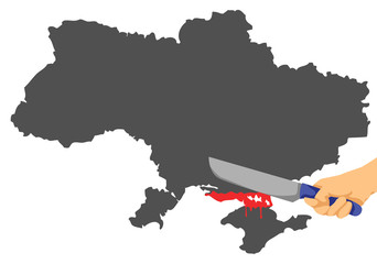 Map of Ukraina and hand with knife separating the Krym