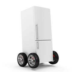 Refrigerator on Wheels isolated on white background