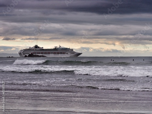 cruise ship and a dramatic sky