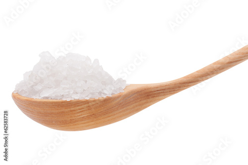 Mineral salt in wooden spoon isolated on white background cutout