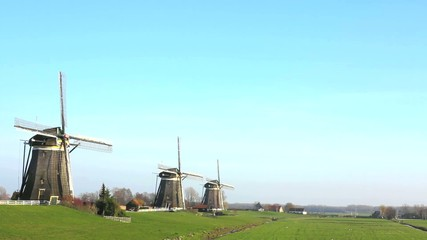 Three windmill in a row at Leischendam, The Hague