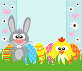 Holiday Easter background card with  rabbit and chicken