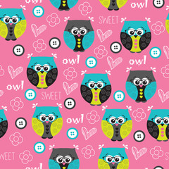cute owl pattern vector illustration