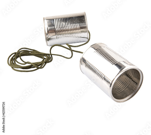 Tin can telephone over white background