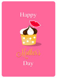 happy mothers day card with creamy cupcake on pink background