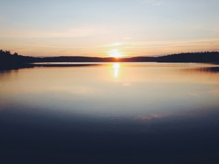 Sunset over a calm lake