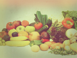Vintage fruit and vegetables with retro effect