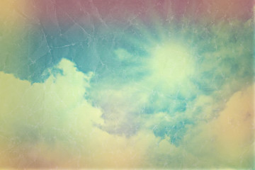 Vintage blue sky with clouds with retro effect