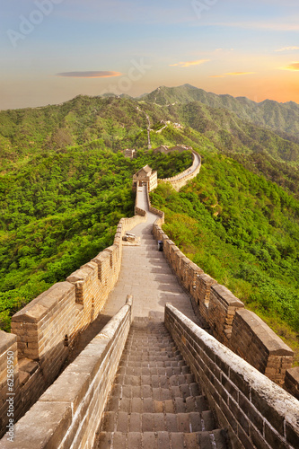 Leinwanddruck Bild Great Wall of China during sunset