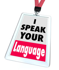 I Speak Your Language Name Badge Translator Foreign Internationa