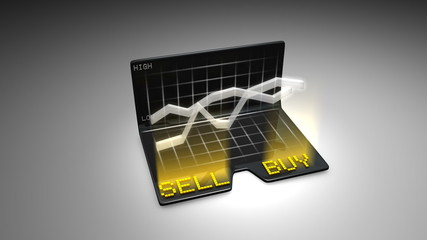Buy and Sell stock concept animation.