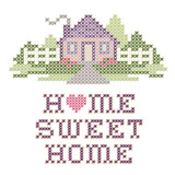 Fototapety Home Sweet Home Cross Stitch Needlework Embroidery, pastel heart