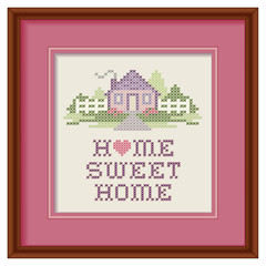 Home Sweet Home Cross Stitch Needlework Embroidery, heart, frame