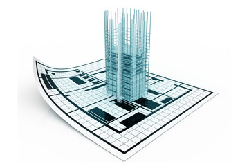 3d modern building and plan blueprint