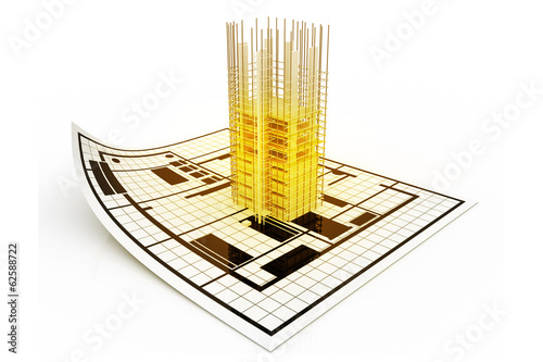 3d modern building and plan blueprint.