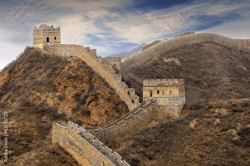 Poster Chinese Muur Great Wall of China with beautiful sky
